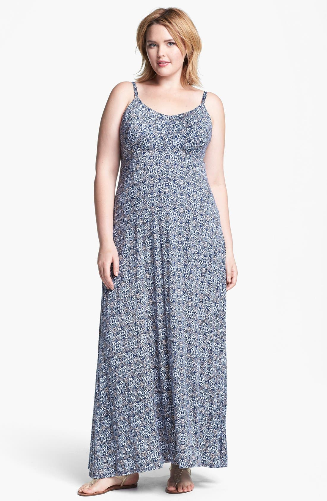 Alternate Image 1 Selected - Olivia Moon Print Maxi Dress (Plus Size)