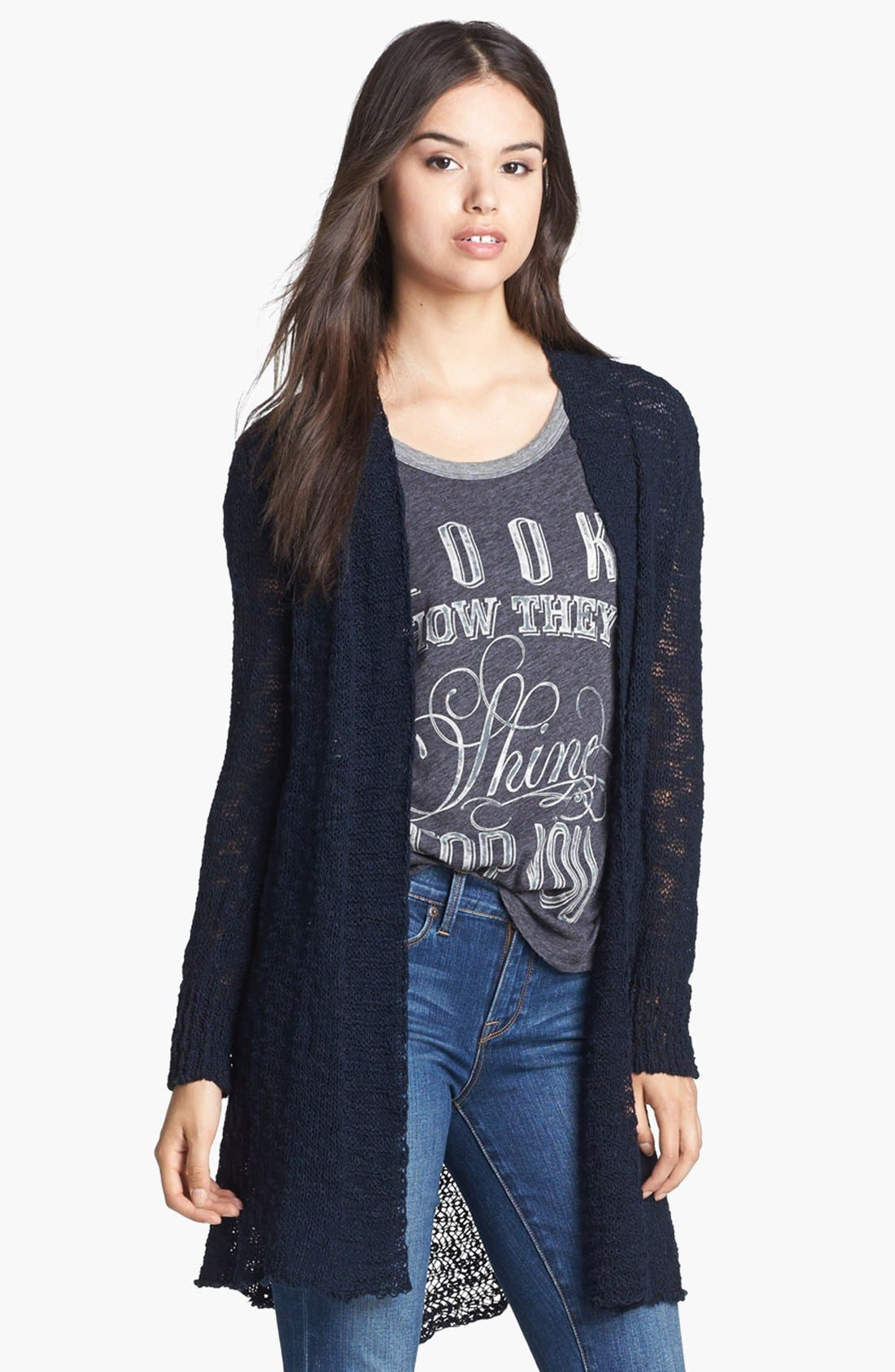 Alternate Image 1 Selected - Lucky Brand 'Alonsa' Mixed Knit Cardigan