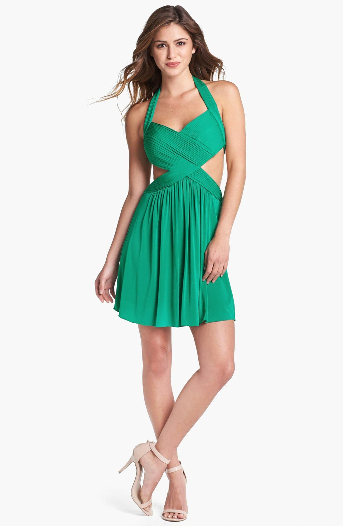 Main Image - BCBGMAXAZRIA 'Shea' Cutout Halter Fit & Flare Dress