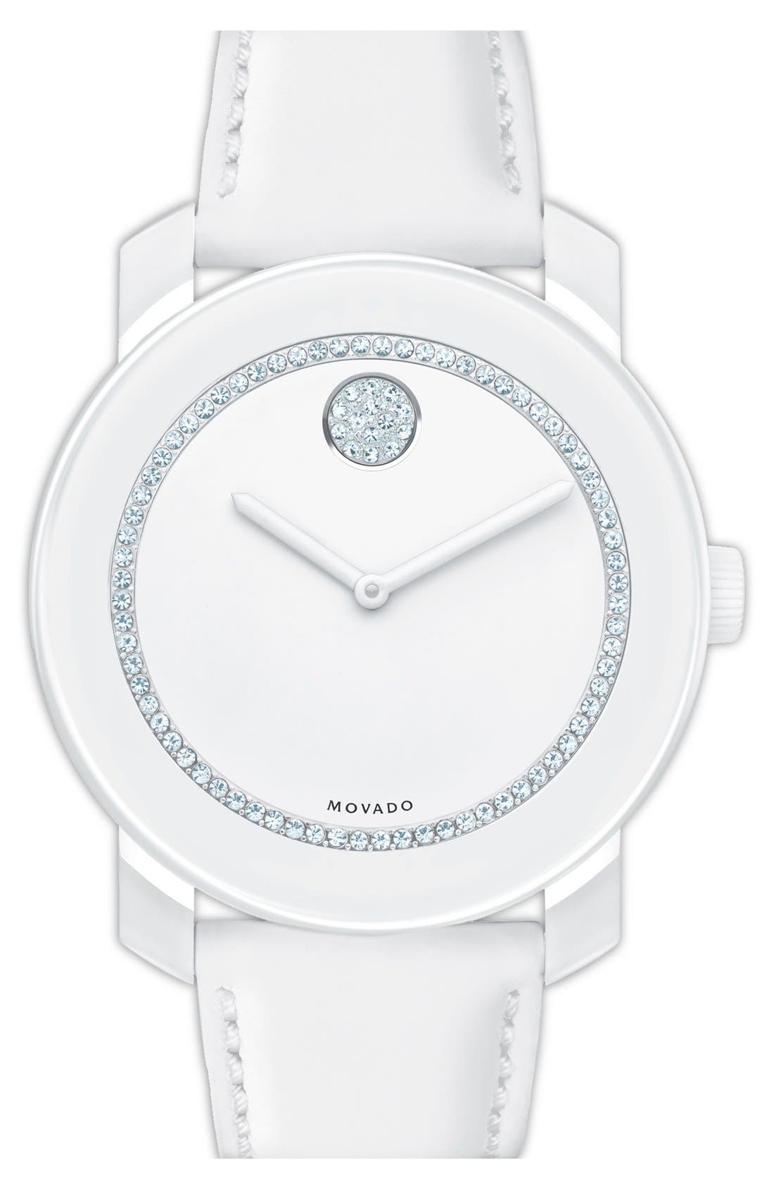 Main Image - Movado 'Bold' Crystal Accent Leather Strap Watch, 42mm