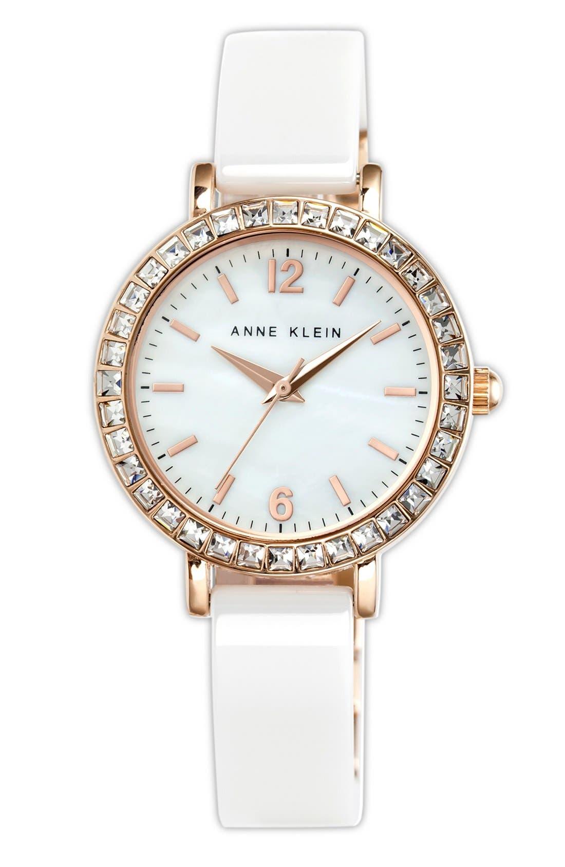 Alternate Image 1 Selected - Anne Klein Crystal Bezel Ceramic Bangle Watch, 32mm