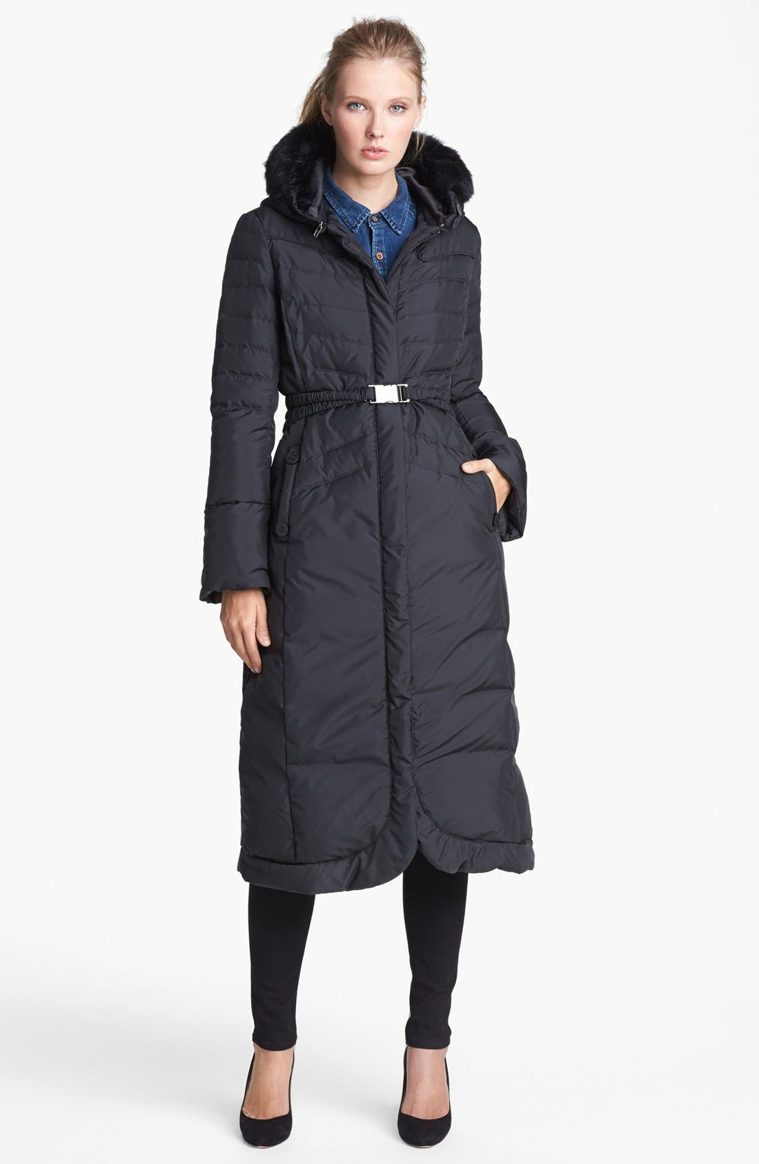Main Image - T Tahari 'Chiara' Genuine Rabbit Fur Trim Long Down Coat