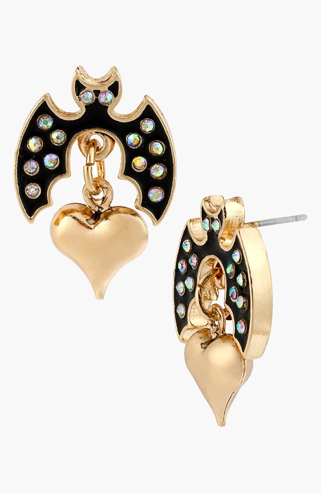 Alternate Image 1 Selected - Betsey Johnson 'Angel & Devil' Bat & Heart Drop Earrings