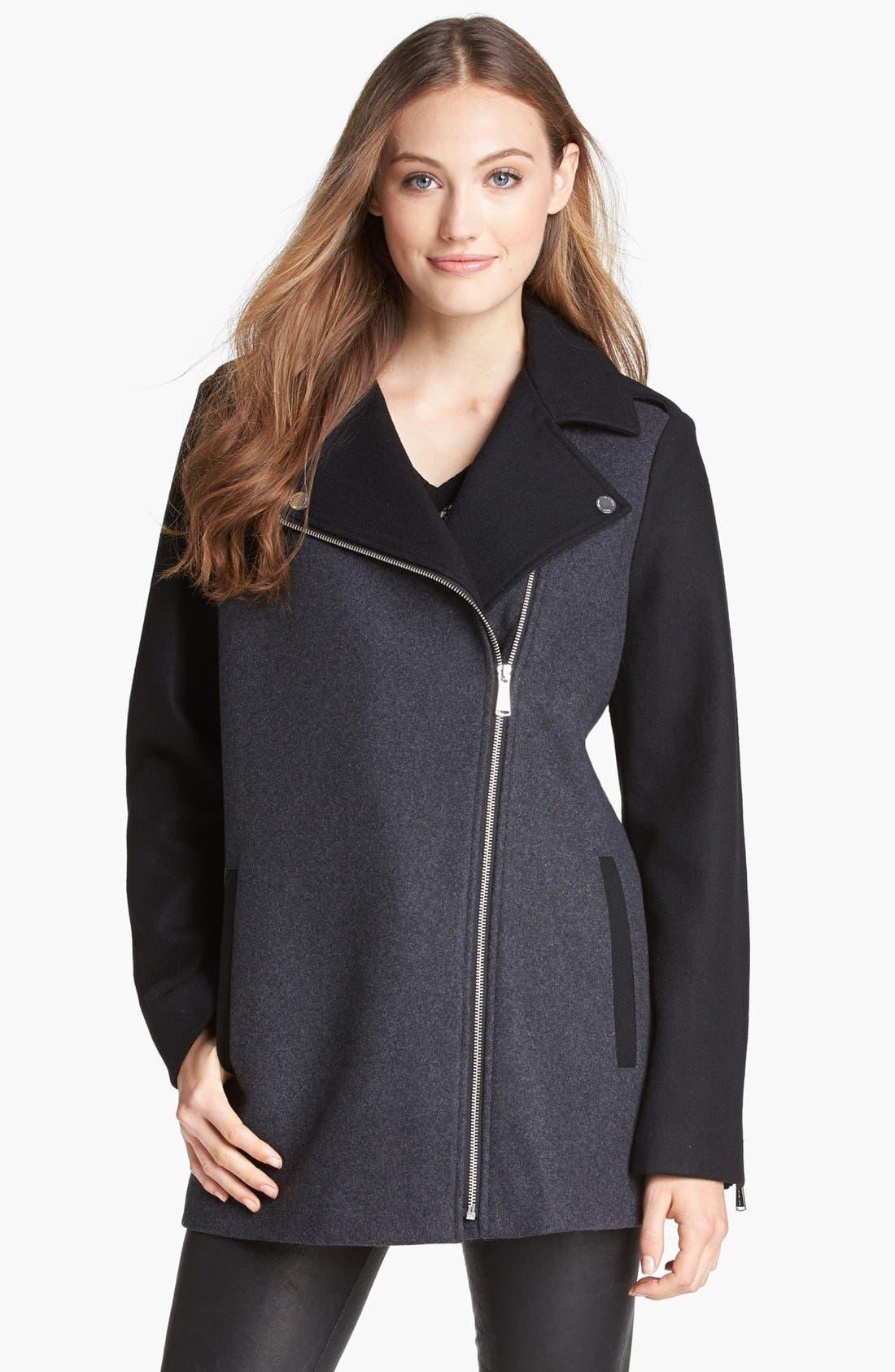 Alternate Image 1 Selected - MICHAEL Michael Kors Two-Tone Asymmetrical Zip Jacket