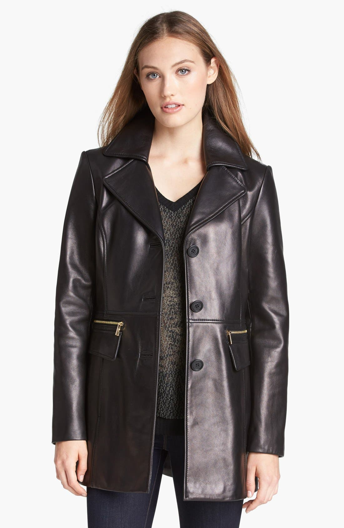 Main Image - Kenneth Cole New York Button Front Leather Coat (Online Only)