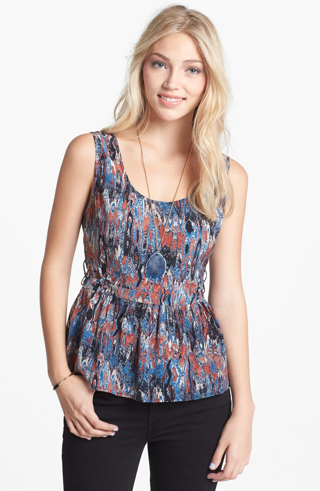 Alternate Image 1 Selected - BCNU Side Cutout Print Peplum Top (Juniors)