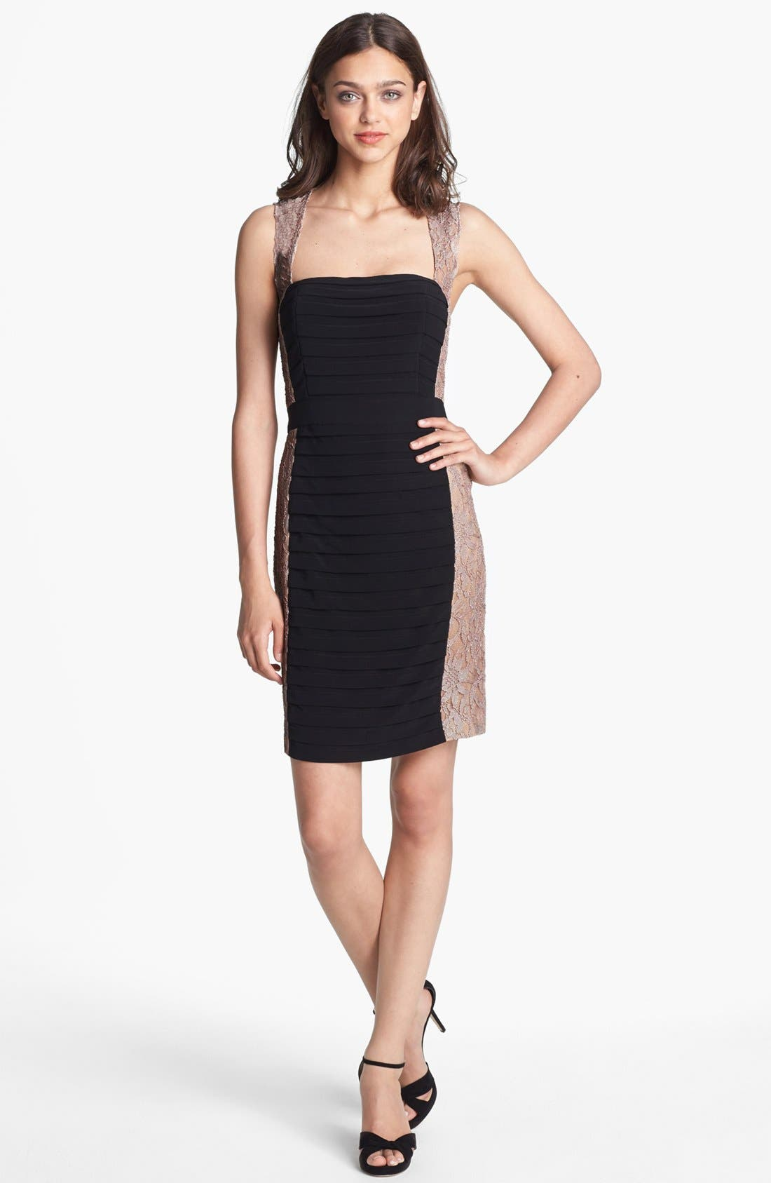 Alternate Image 1 Selected - Hailey by Adrianna Papell Lace & Shutter Pleat Sheath Dress (Online Only)