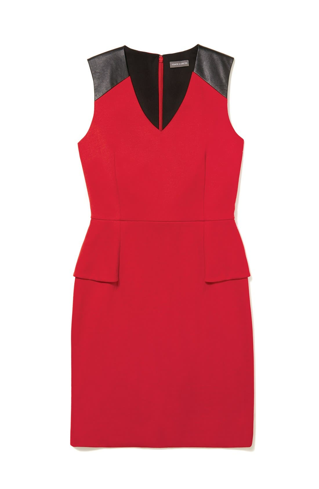 Alternate Image 5  - Vince Camuto Faux Leather Shoulder Detail Peplum Dress