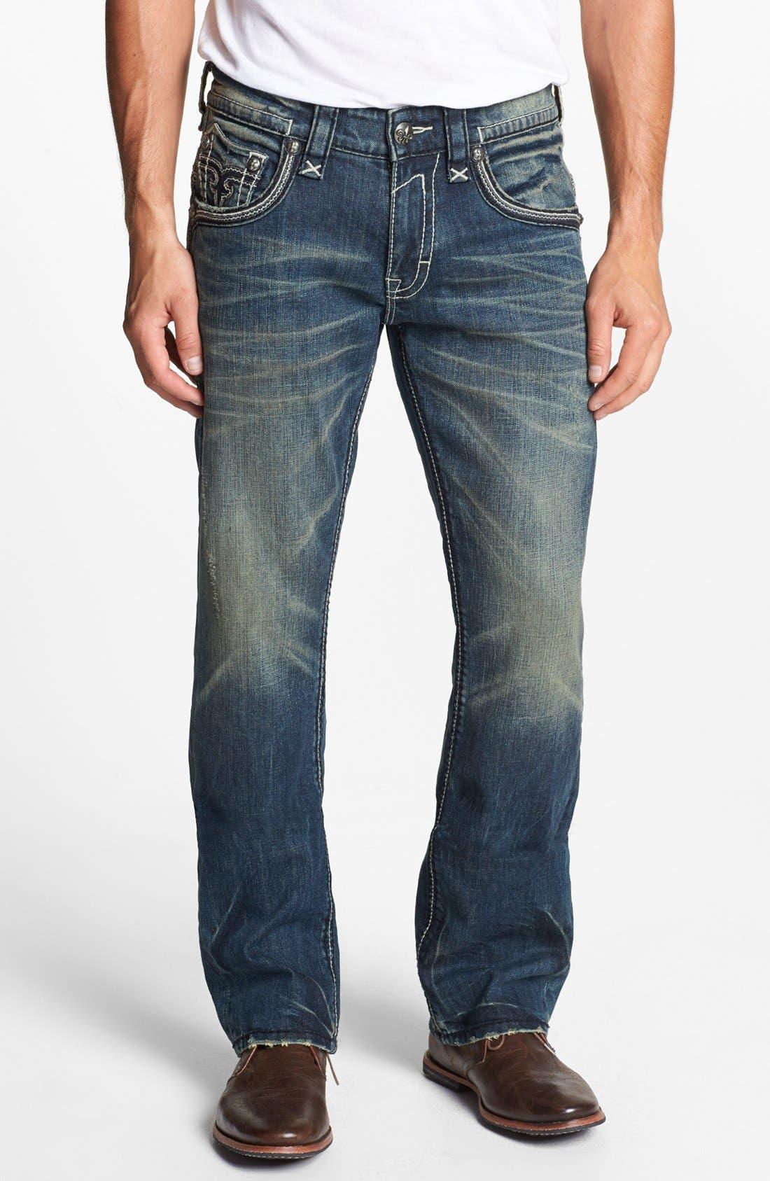 Alternate Image 4  - Rock Revival 'Jonathan' Straight Leg Jeans (Vintage Blue)