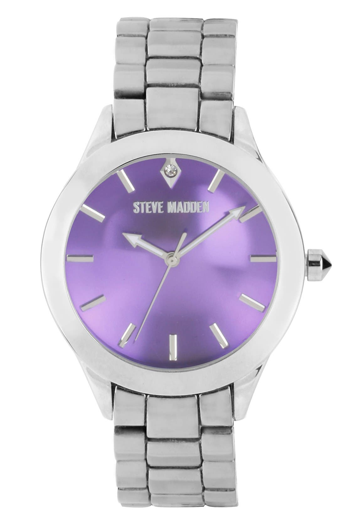 Main Image - Steve Madden Round Colored Dial Bracelet Watch, 40mm