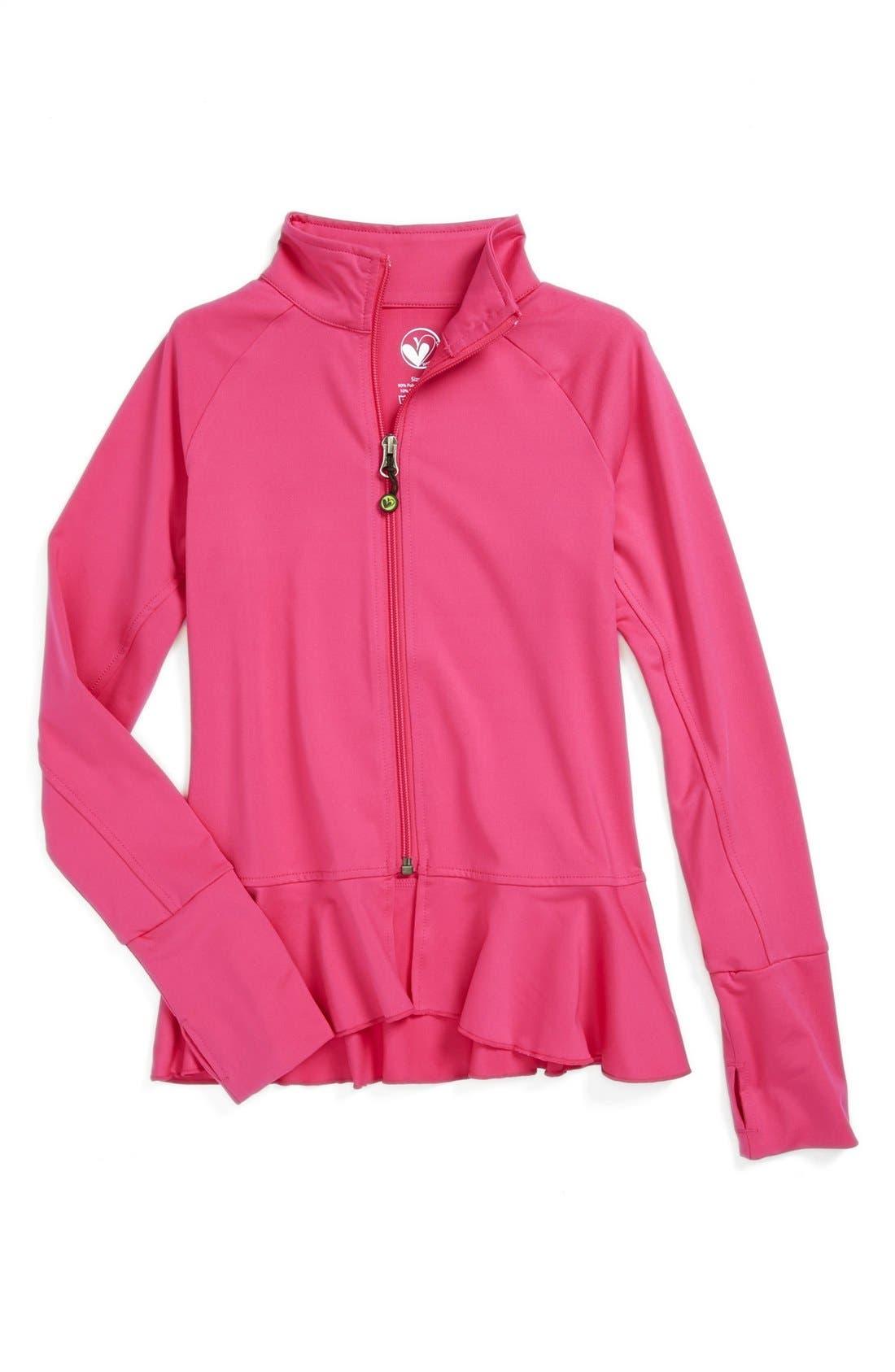Alternate Image 1 Selected - Limeapple Ruffled Jacket (Big Girls)
