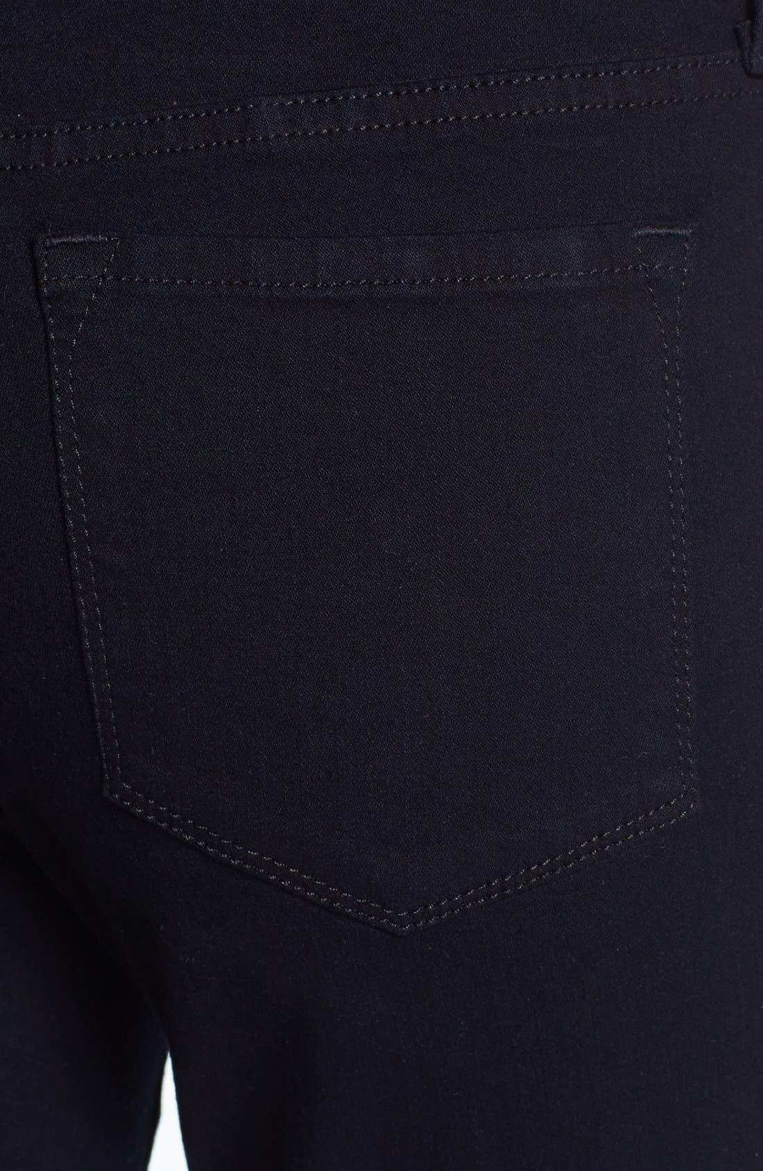 Alternate Image 3  - NYDJ 'Alina' Embellished Trim Stretch Skinny Jeans (Black)
