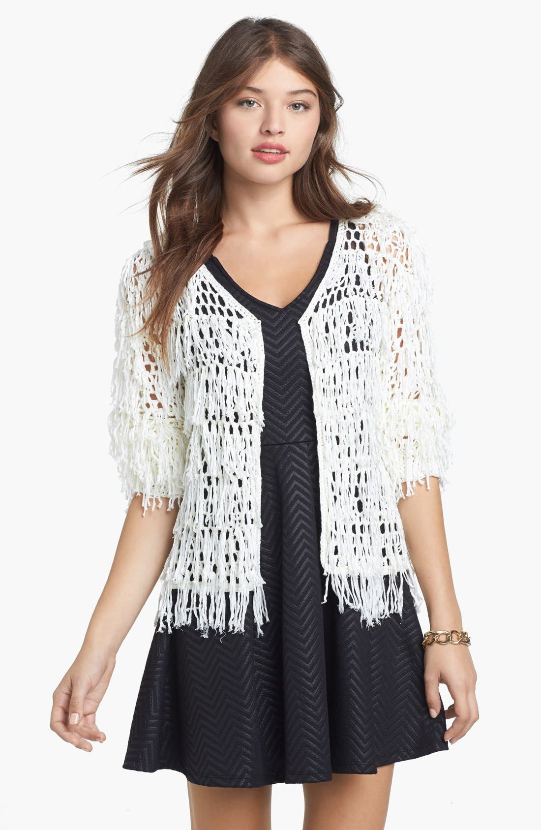 Alternate Image 1 Selected - Painted Threads Fringed Cardigan (Juniors)