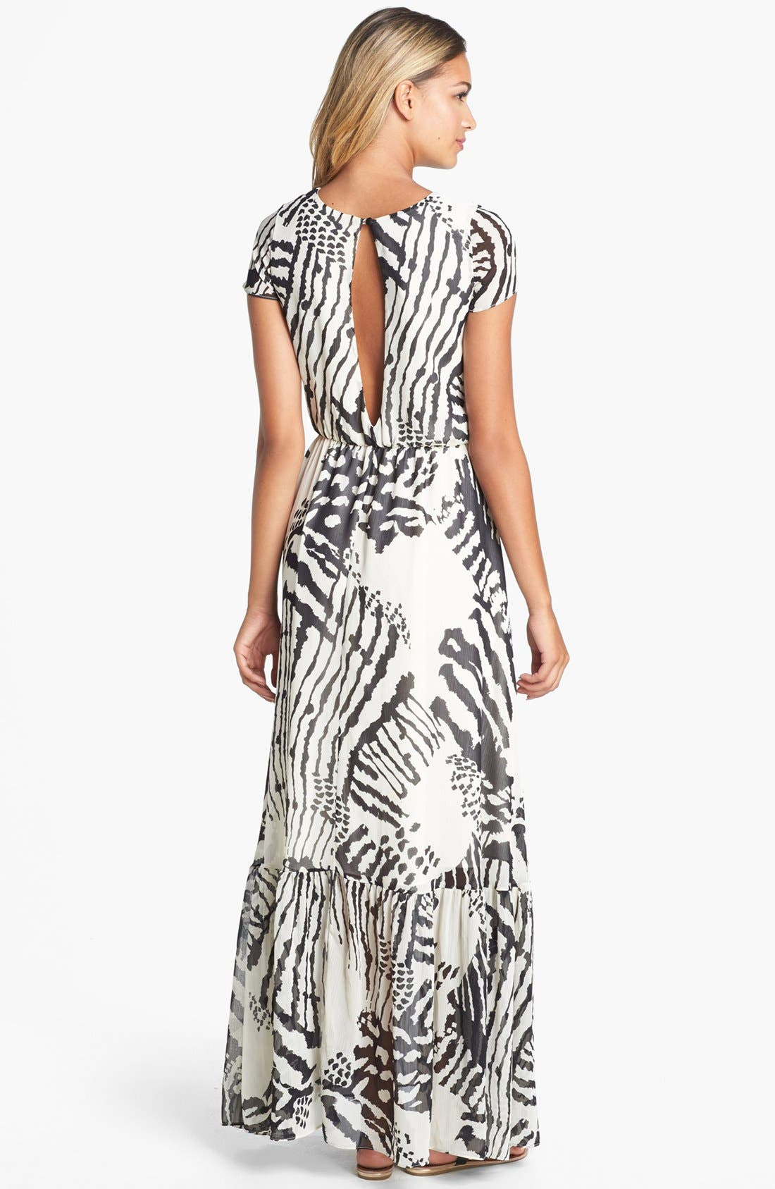 Alternate Image 2  - Dress the Population 'Reese' Print Crepe Maxi Dress