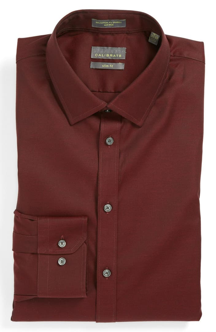 Calibrate slim fit non iron dress shirt nordstrom for Slim fit non iron shirts