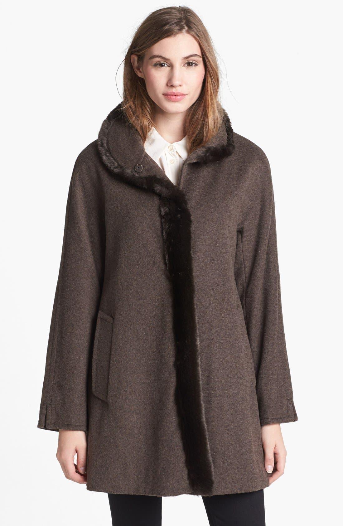 Main Image - Ellen Tracy Faux Fur Trim Wool Blend Coat (Online Only)