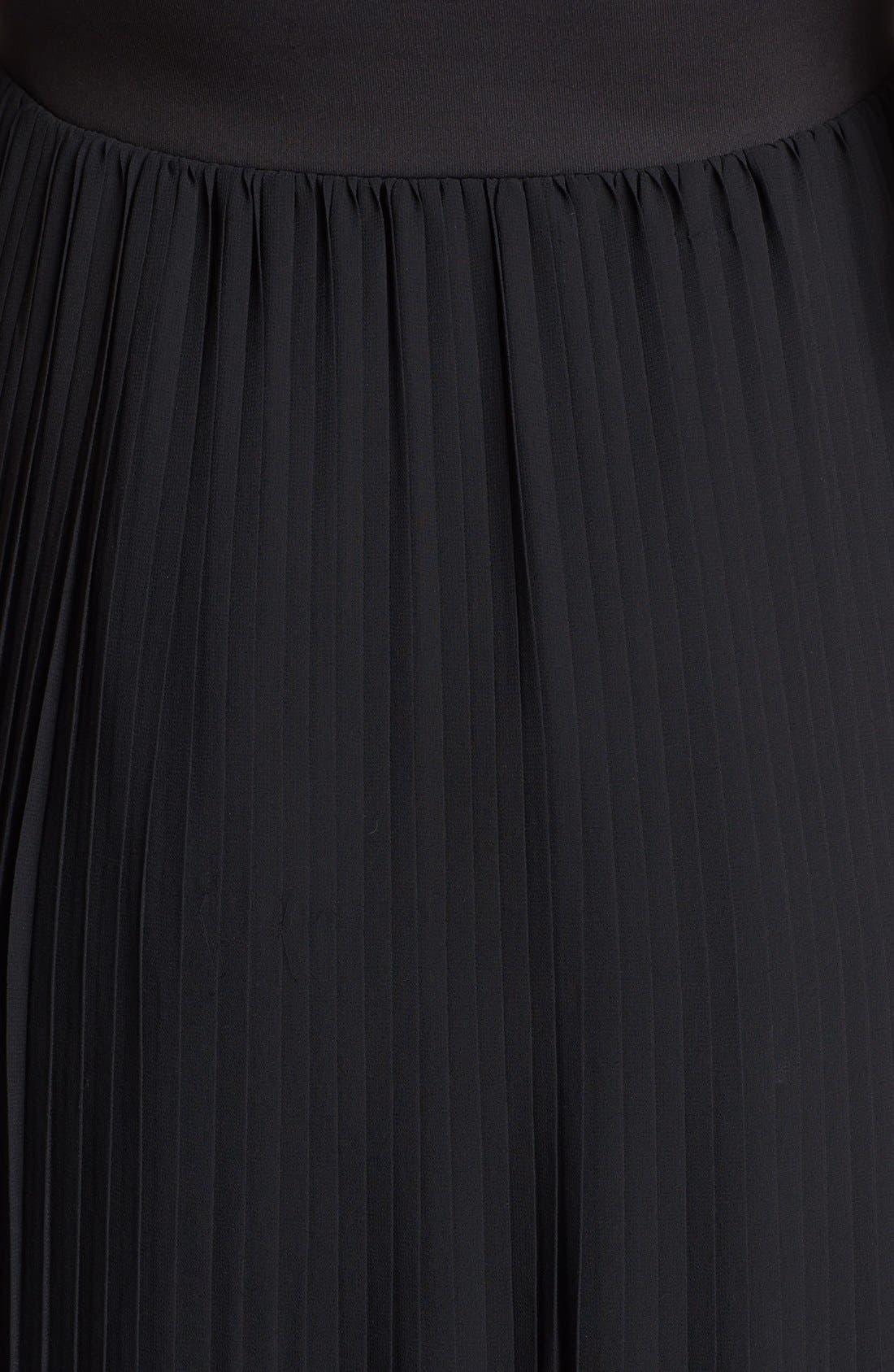 Alternate Image 3  - BLAQUE LABEL Faux Leather & Pleat Chiffon Maxi Dress