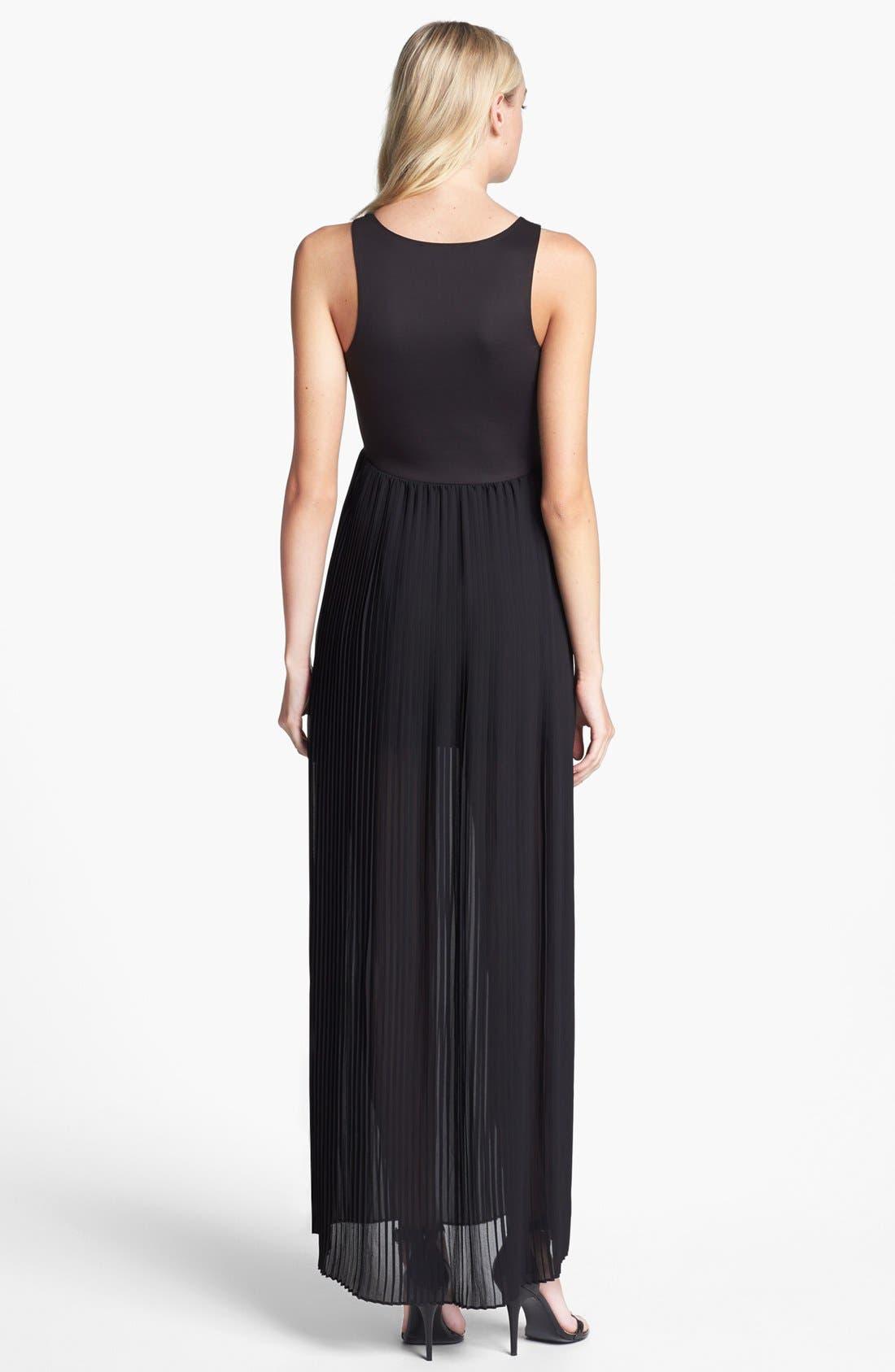 Alternate Image 2  - BLAQUE LABEL Faux Leather & Pleat Chiffon Maxi Dress