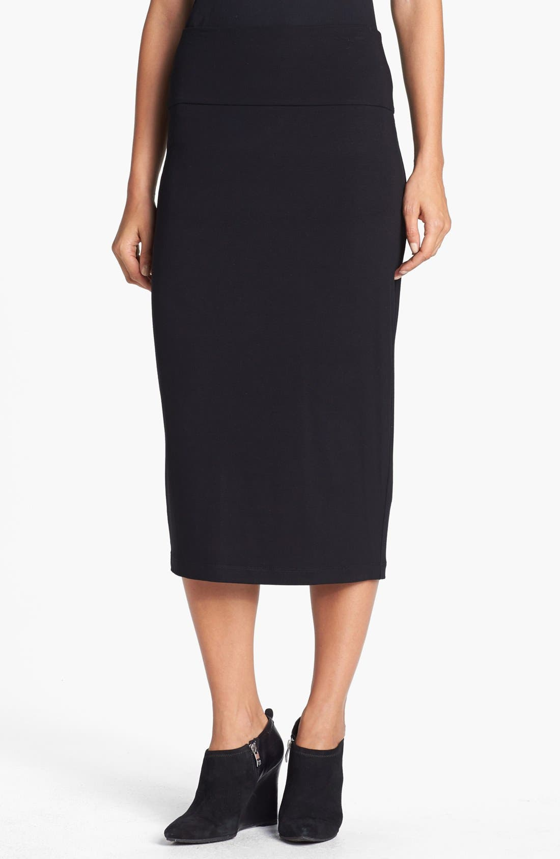 Foldover Waist Straight Skirt,                         Main,                         color, Black