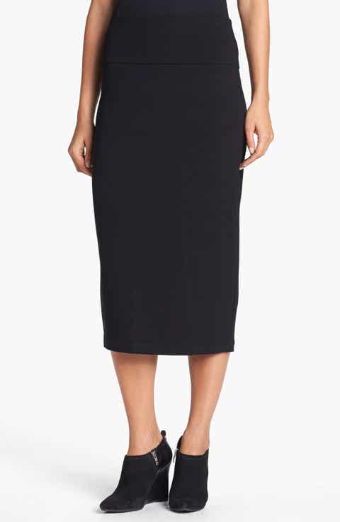 Eileen Fisher Foldover Waist Straight Skirt (Regular & Petite)