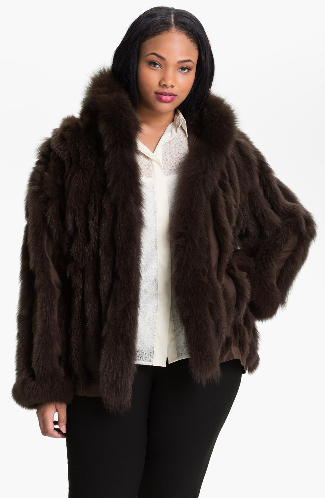 George Simonton Couture Reversible Silk & Genuine Fox Fur Jacket (Plus Size)
