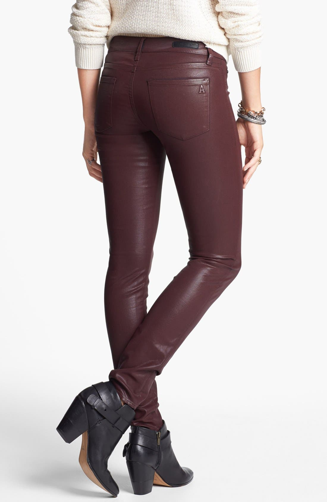 Alternate Image 2  - Articles of Society 'Mya' Coated Skinny Jeans (Ox Blood) (Online Only)