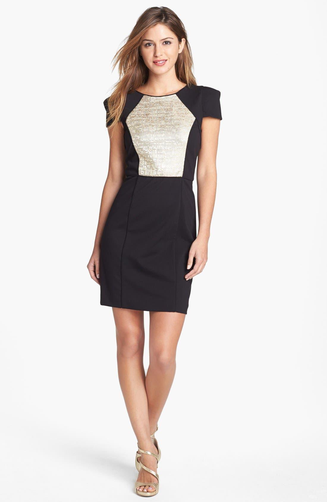 Alternate Image 1 Selected - 4.collective Metallic Panel Knit Sheath Dress