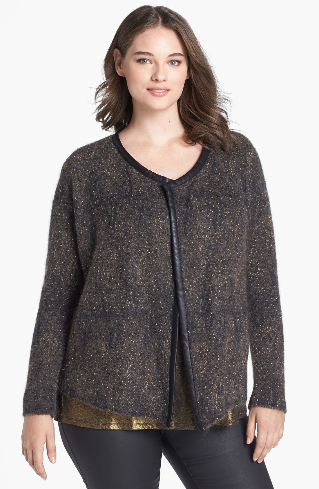 Alternate Image 1 Selected - Eileen Fisher Leather Trim Jacket (Plus Size)