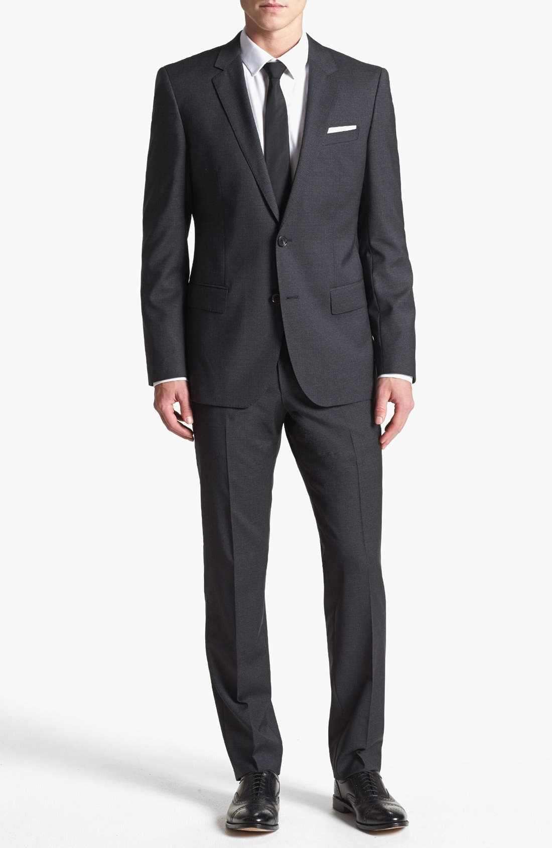 Alternate Image 1 Selected - HUGE GENIUS BOX CHECK TWO BUTTON TRIM FIT SUIT