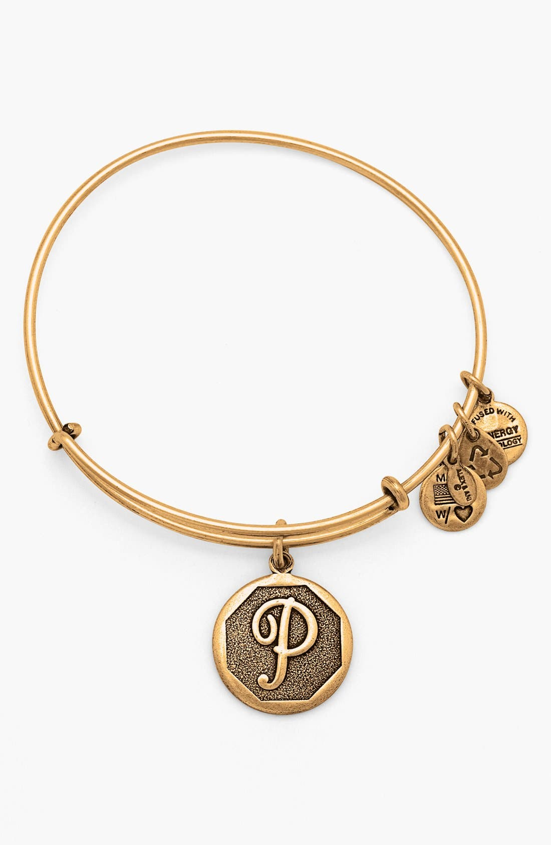 Main Image - Alex and Ani 'Initial' Adjustable Wire Bangle
