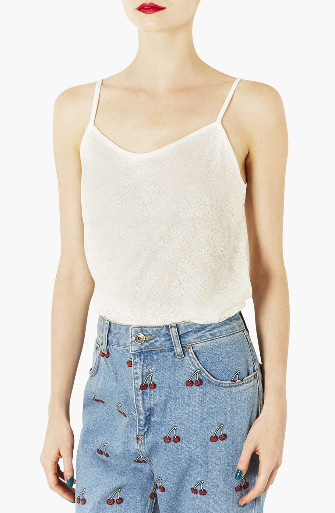 Alternate Image 1 Selected - Topshop Scallop Lace Camisole