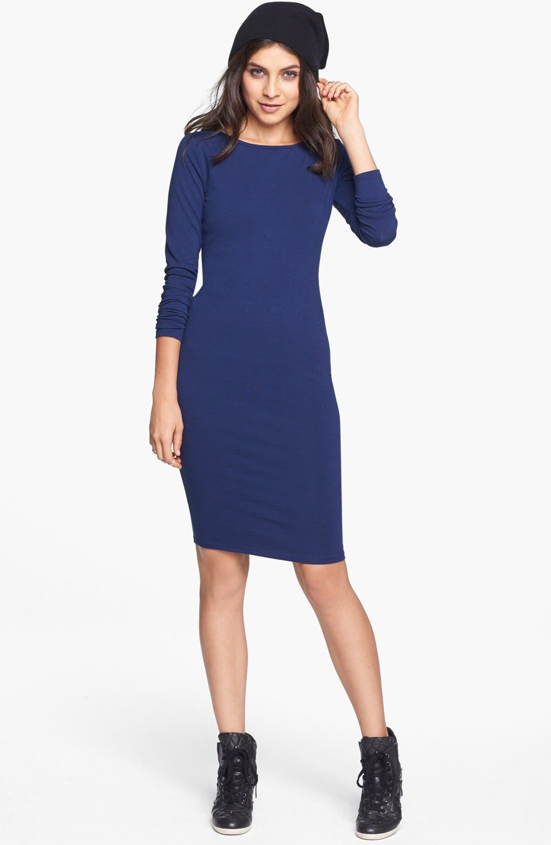 Alternate Image 1 Selected - Socialite Long Sleeve Body-Con Dress (Juniors) (Online Only)