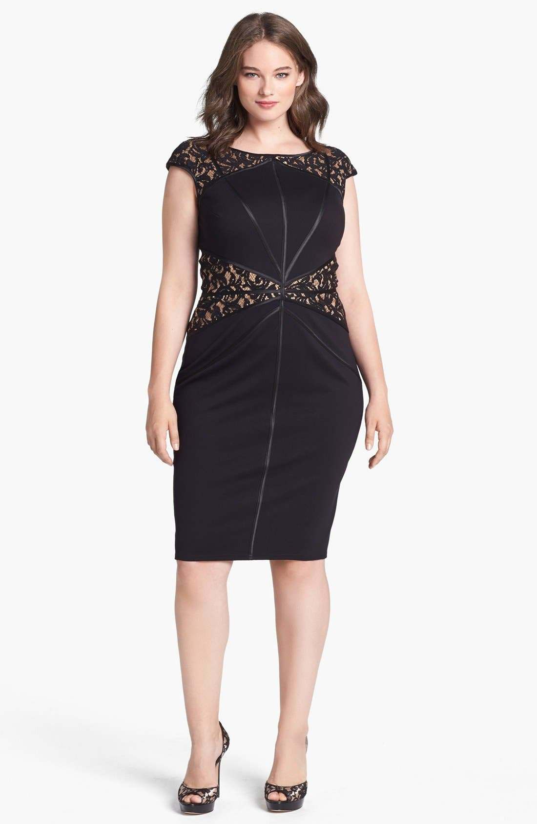 Main Image - Tadashi Shoji Lace Inset Sheath Dress (Plus Size)