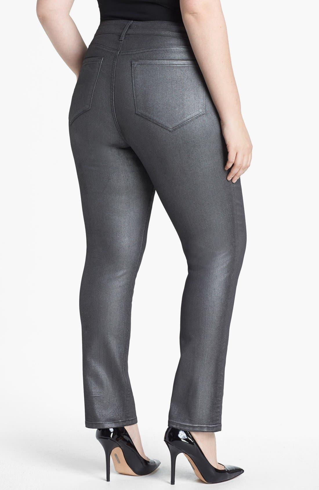 Alternate Image 2  - NYDJ 'Sheri' Foiled Stretch Skinny Jeans (Plus Size)
