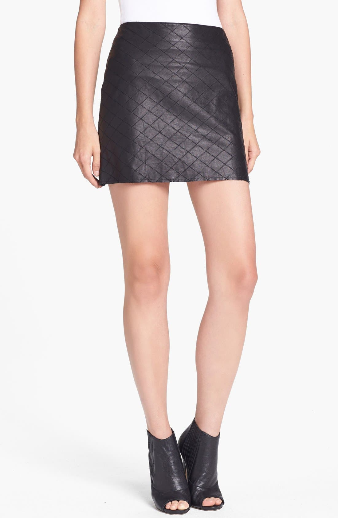 Main Image - Alice + Olivia 'Brigatta' Leather Miniskirt