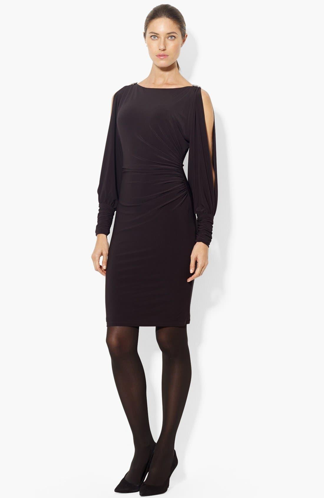 Main Image - Lauren Ralph Lauren Split Sleeve Matte Jersey Sheath Dress