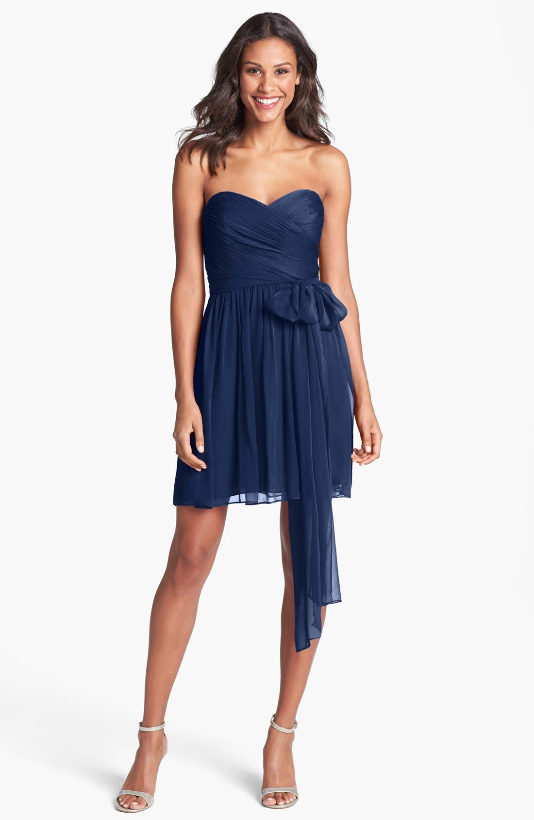 Main Image - Jill Stuart Pleated Silk Chiffon Sweetheart Dress