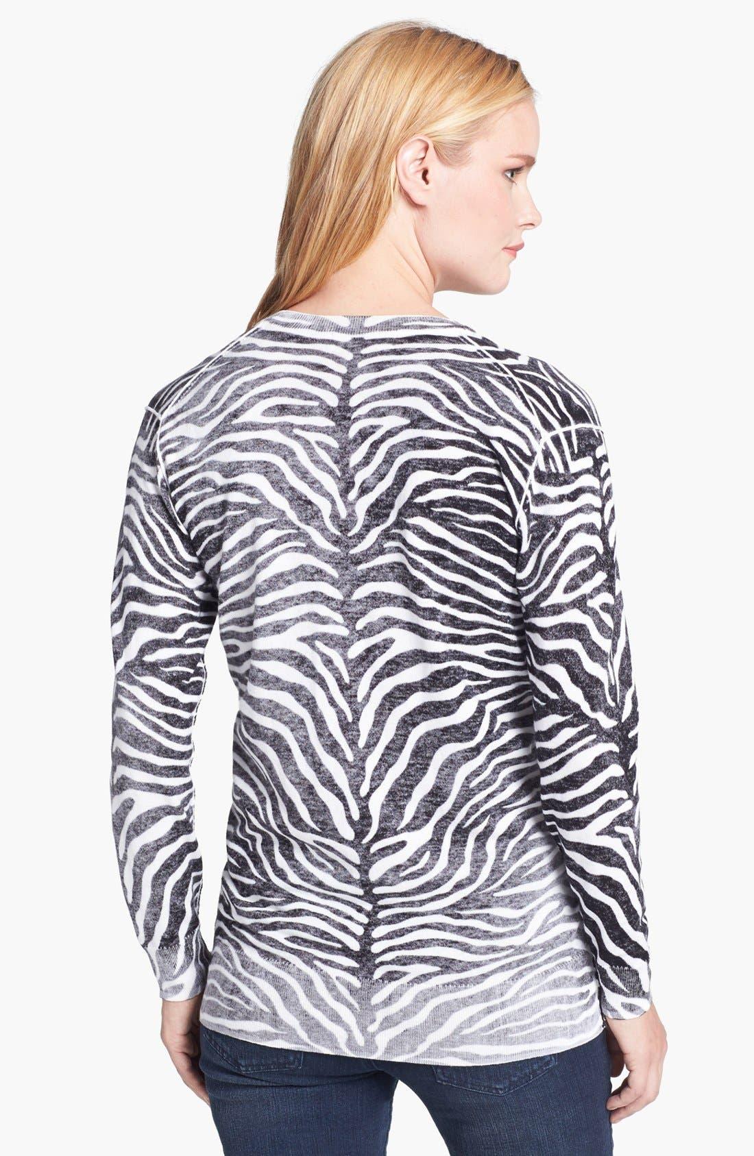 Alternate Image 2  - MICHAEL Michael Kors Print V-Neck Sweater