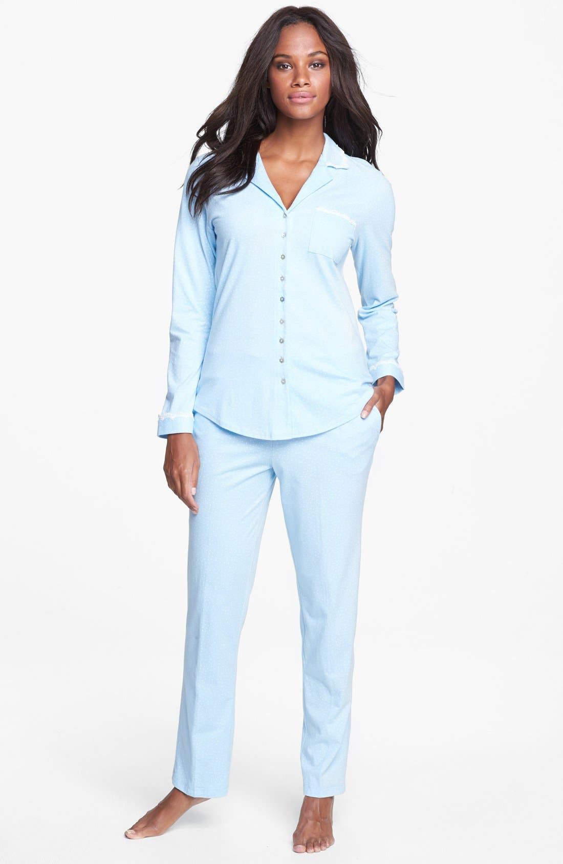 'Buona Notte' Pajamas,                         Main,                         color, Blue/ Winter White Dots