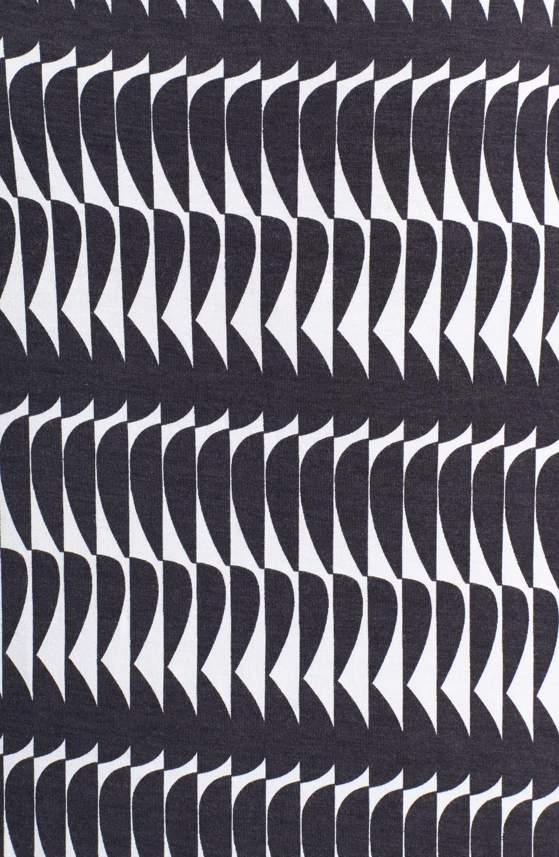 Drape Neck Print Top,                             Alternate thumbnail 3, color,                             Cream Cloud Optic Wave