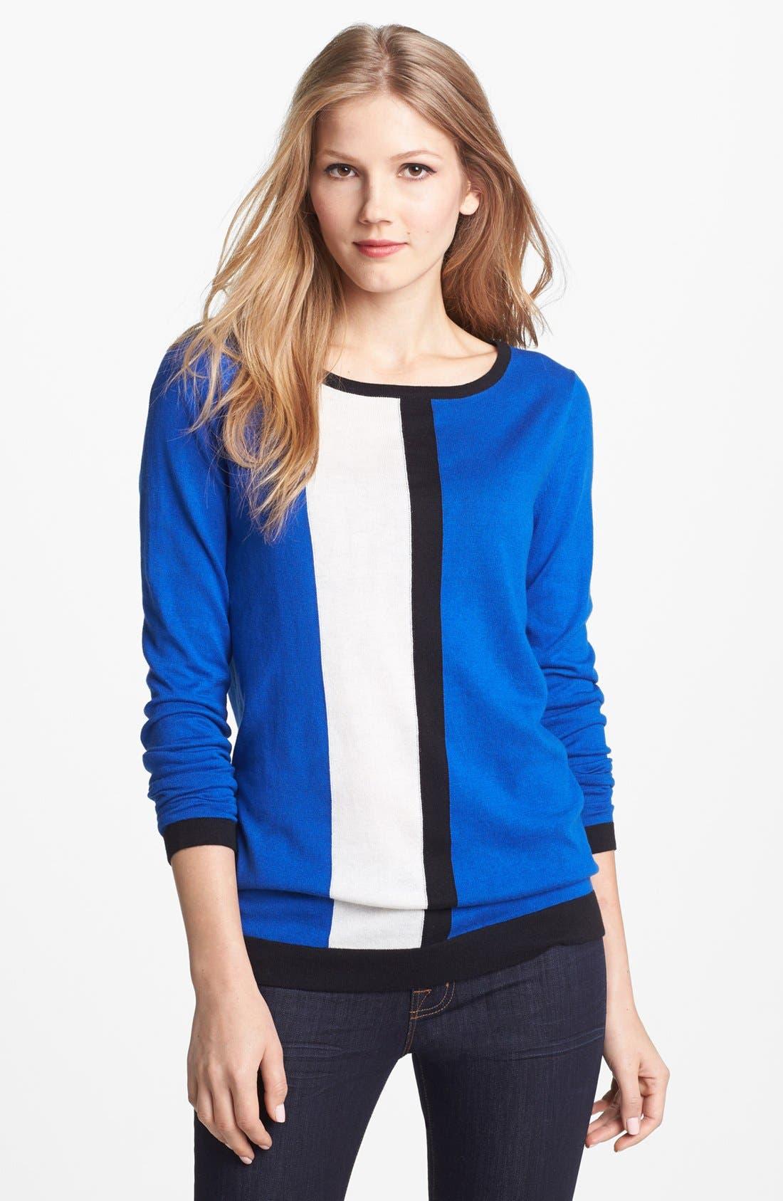 Alternate Image 1 Selected - Vince Camuto Vertical Stripe Colorblock Cotton Blend Sweater