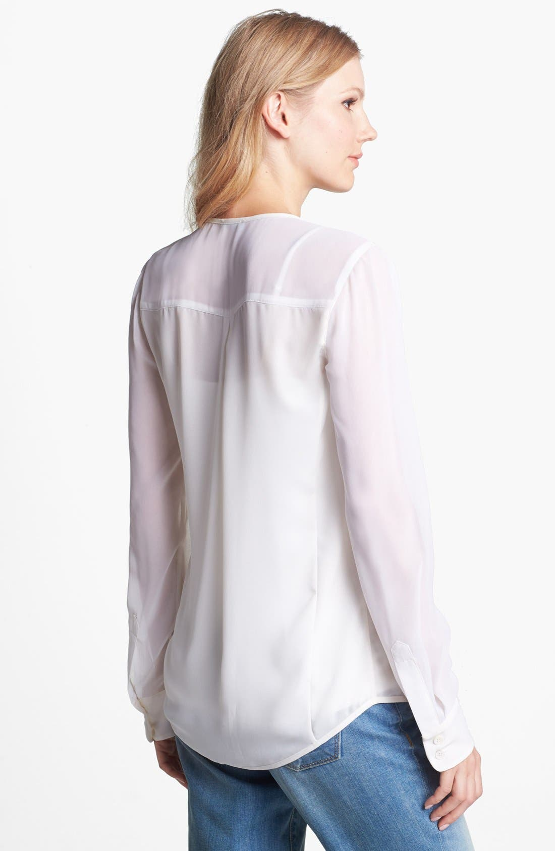 Alternate Image 2  - Vince Camuto Zip Front Chiffon Sleeve Blouse