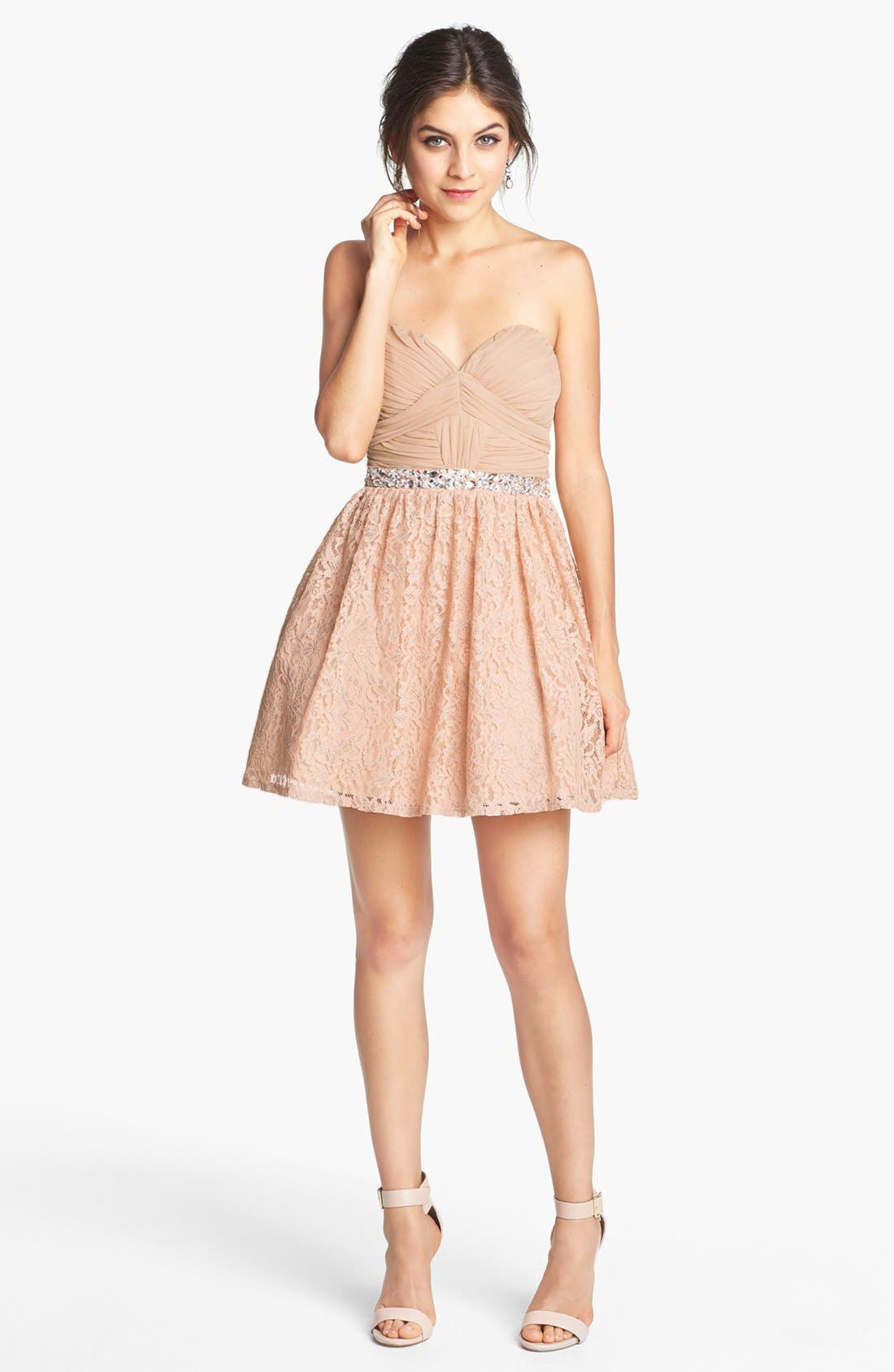 Main Image - Way-In Embellished Lace Fit & Flare Dress (Juniors) (Online Only)