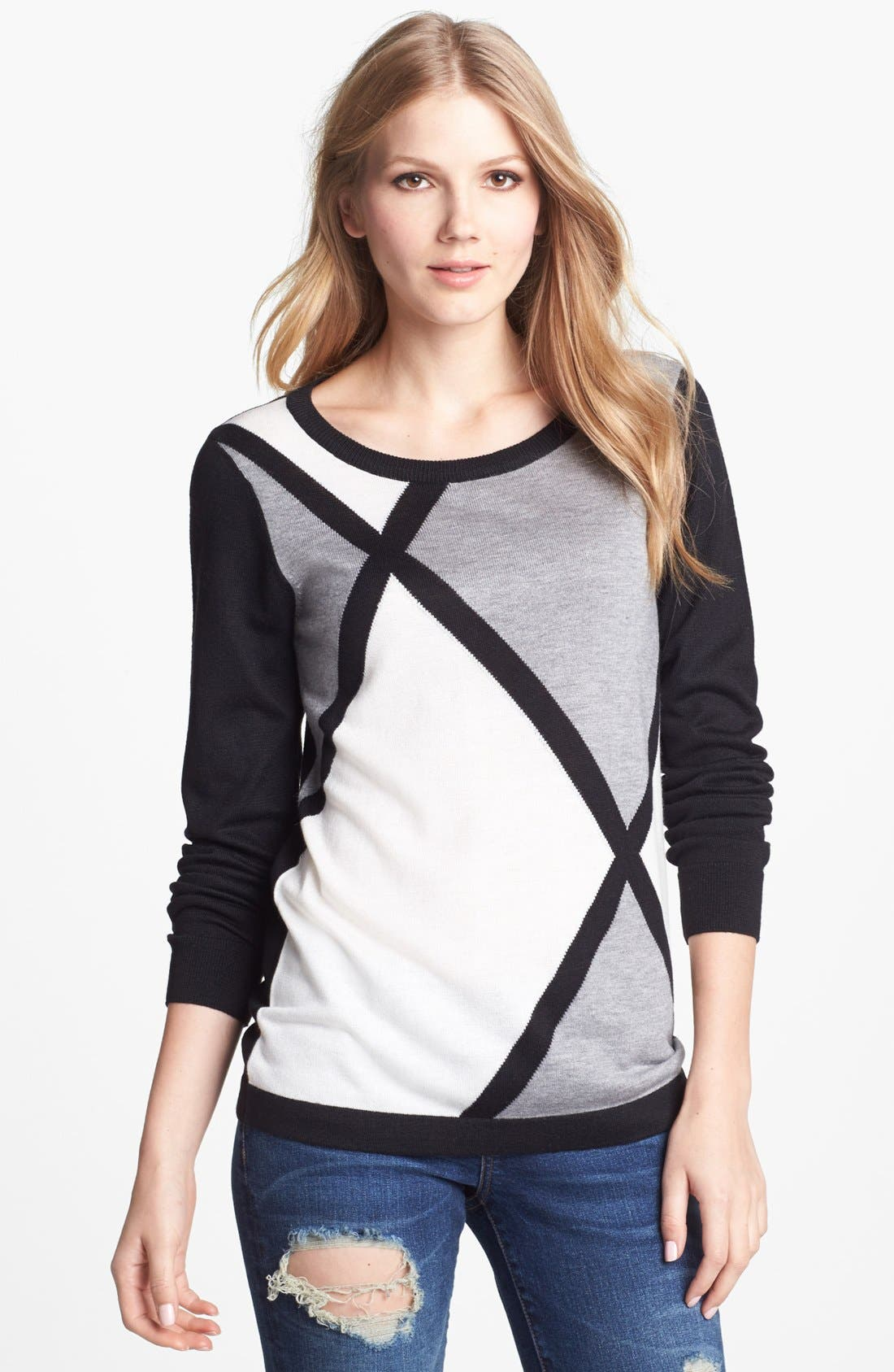 Alternate Image 1 Selected - Vince Camuto Diamond Intarsia Crewneck Sweater