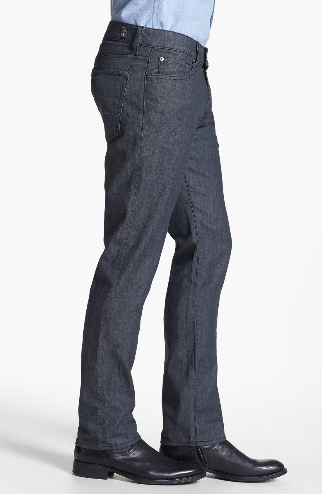Alternate Image 3  - 7 For All Mankind® 'Slimmy' Slim Straight Leg Jeans (Clean Grey)