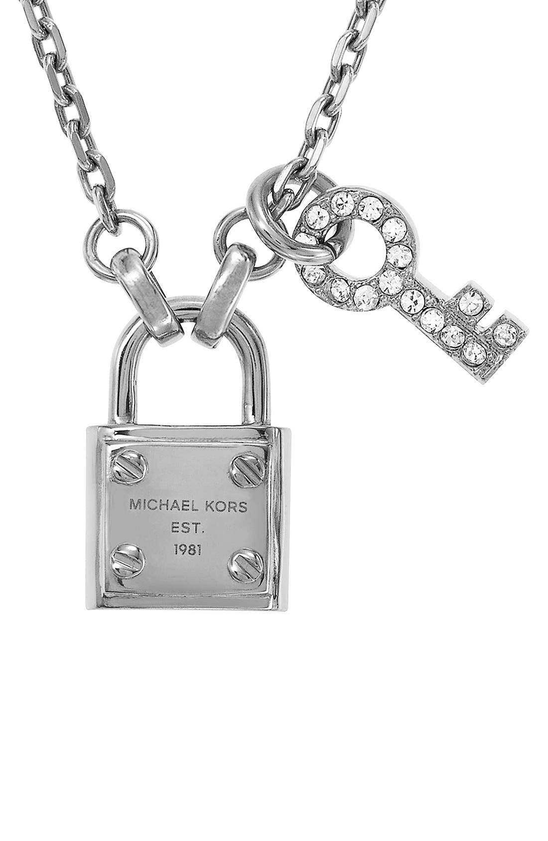 Main Image - Michael Kors 'Brilliance' Lock & Key Charm Necklace