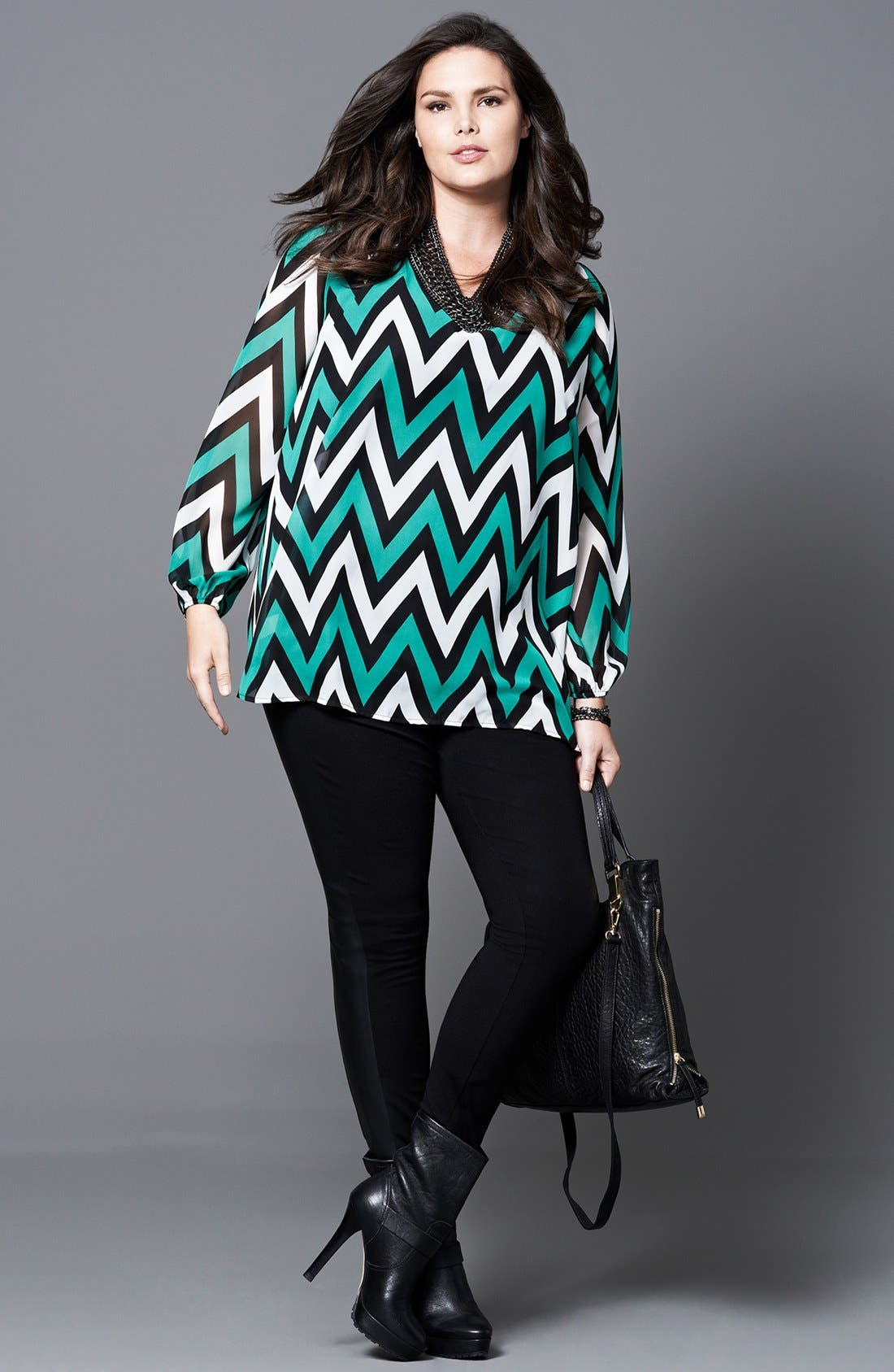 Alternate Image 5  - Kische Chevron Stripe Chiffon Tunic (Plus Size)