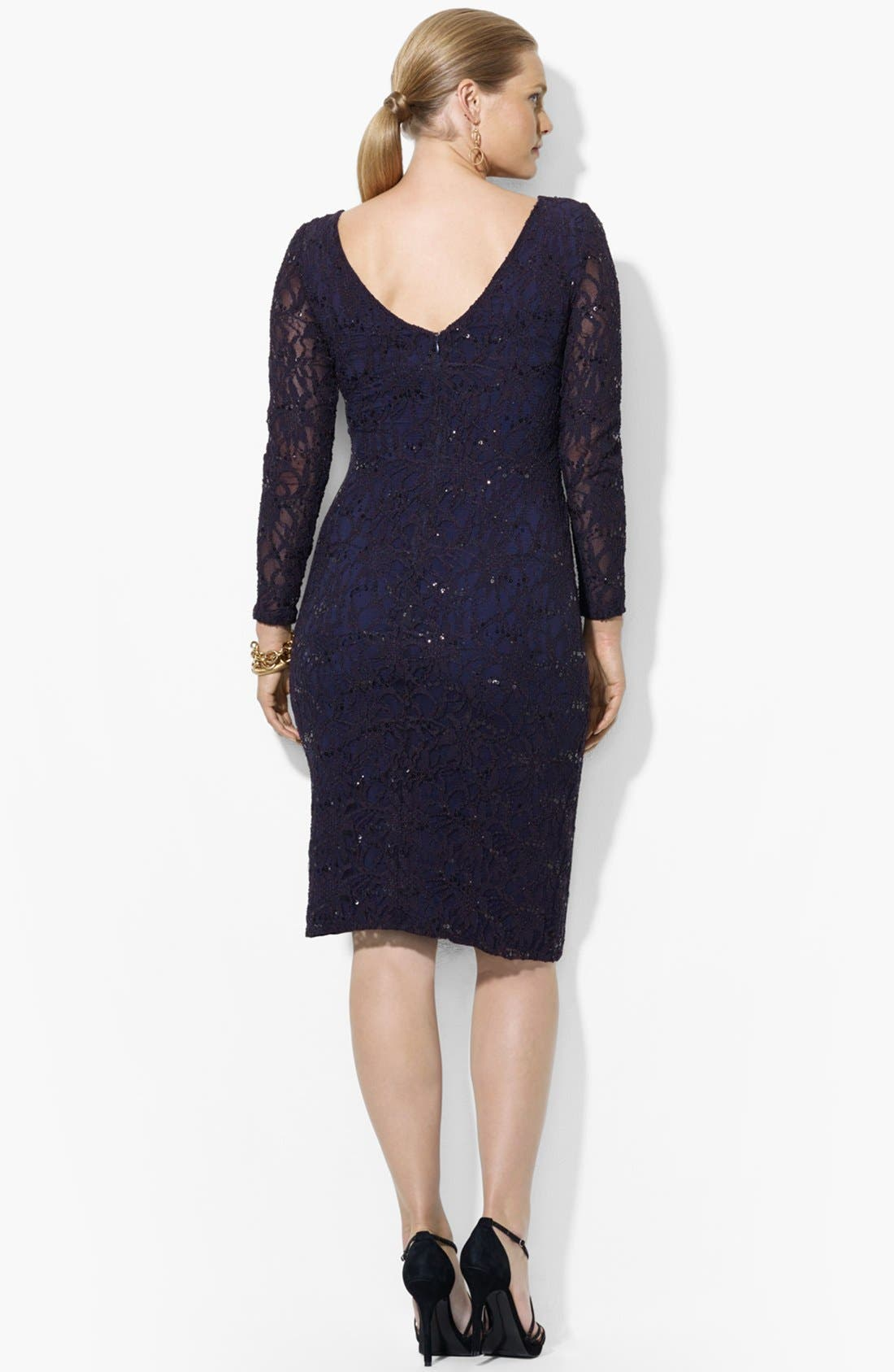 Alternate Image 3  - Lauren Ralph Lauren Sequin Lace Sheath Dress (Plus Size)