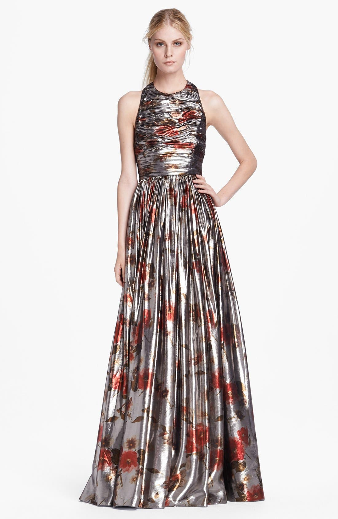 Main Image - Alice + Olivia 'Nova' Sleeveless Lamé Gown