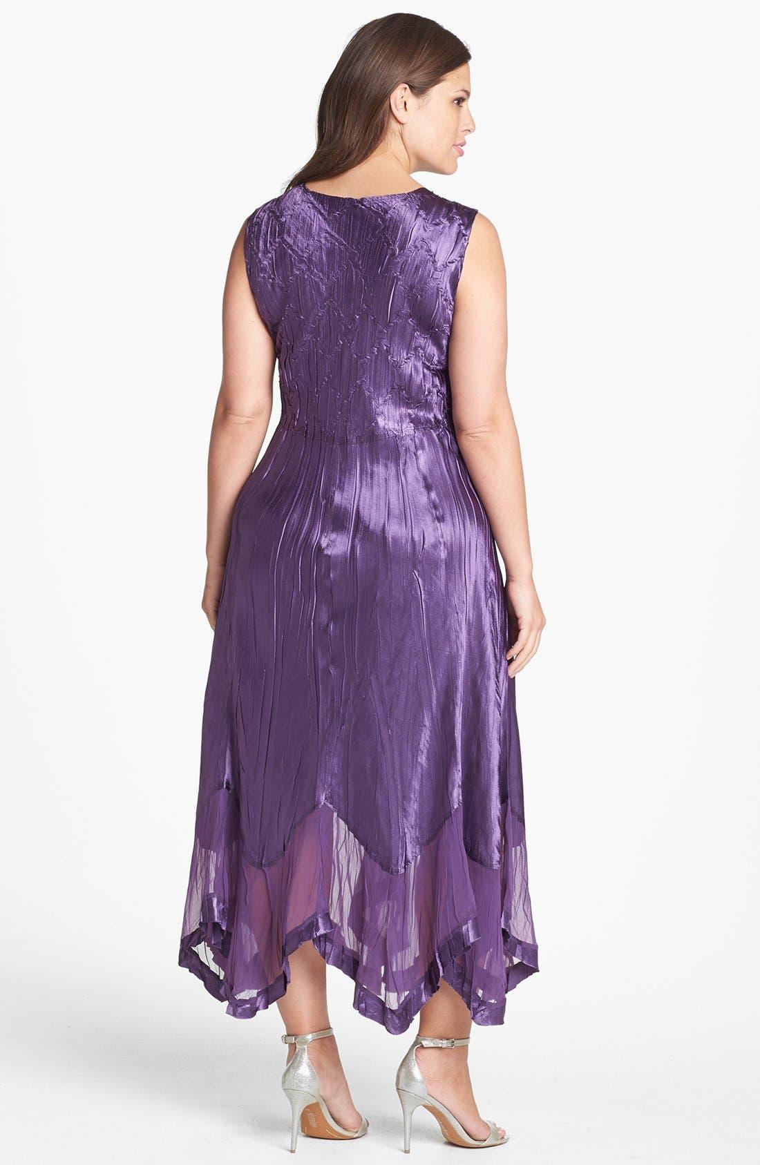 Alternate Image 2  - Komarov Chiffon Trim Charmeuse Dress & Jacket (Plus Size)
